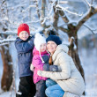 Family outdoors on winter day — Photo