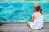 Little girl enjoying sea life — Stock Photo