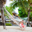 Mother and daughter relaxing in hammock — Foto Stock