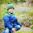 Cute boy and squirrel - Foto Stock