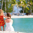 Stock Photo: Mother and daughter on Tahitibeach