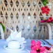 Beautifully decorated breakfast table — Stock Photo #14336159