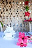 Beautifully decorated breakfast table — Stock Photo