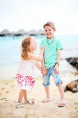 Two kids at beach — Stock Photo