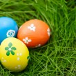 Stock Photo: Easter eggs on a grass