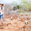 Stock Photo: Female tourist at Galapagos islands