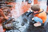 Ragazzo fotografare al mercato del pesce — Foto Stock