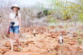 Female tourist at Galapagos islands — Stock Photo