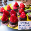 Stock Photo: Fresh strawberries dipped in chocolate