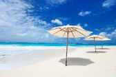 Umbrellas on tropical beach — Stock Photo