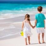 Two kids walking along a beach at Caribbean — Stock Photo #22455397