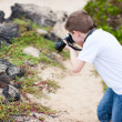 Young nature photographer - Foto Stock
