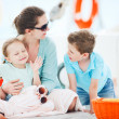 Mother and her kids having great time at luxury yacht — Stock Photo #24966985