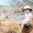Stock Photo: Little girl at scenic terrain on Galapagos South Plazisland