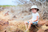 Little girl at scenic terrain on Galapagos South Plaza island — Stock Photo