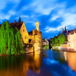 Famous view of Bruges at night — Stock Photo