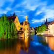 Famous view of Bruges at night — Stock Photo #25895197