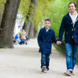 Father and son at park — Stock Photo