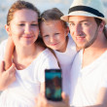 Family vacation portrait — Stock Photo