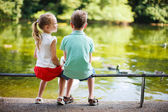 Two kids in a park — Stock Photo