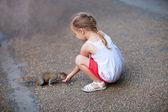 маленькая девочка и белка — Стоковое фото