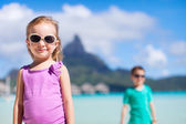 Two kids on Bora Bora — Stock Photo