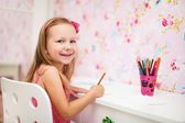 Little girl in her room — Foto Stock