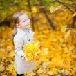 Little girl outdoors at autumn day — Stock Photo