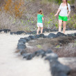 Mother and daughter hiking at Galapagos islands — Stock Photo