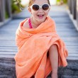Cute little girl at beach — Stock Photo
