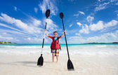 Boy with kayak paddles — Stock Photo