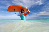 Boy with boogie board — Stock Photo