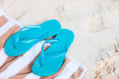 Flip flops at beach — Stock Photo