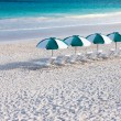 Tropical beach with umbrellas — Stock Photo #41827881