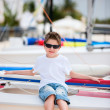 Cute boy at beach — Stock Photo