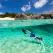 Little boy snorkeling in tropical water — Stock Photo #50235909