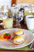 Breakfast with poached eggs — Stock Photo