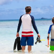 Father and son go snorkeling — Stock Photo #50623981