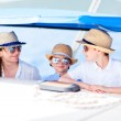 Mother and kids at luxury yacht — Stock Photo #50624329