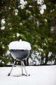 Barbeque grill covered with snow — Stock Photo