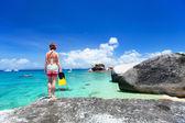 Woman swimming in tropical ocean — Stock Photo
