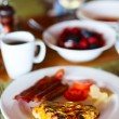 Breakfast with omelet, fresh fruits and coffee — Stock Photo #51037213