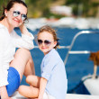 Family sailing on a luxury yacht — Stock Photo #51037313