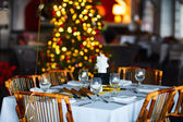 Table setting for Christmas party — Stock Photo
