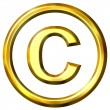 3D Golden Copyright Symbol — Stock Photo