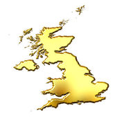 Great Britain 3d Golden Map — Stock Photo