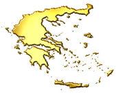 Grecia mappa d'oro 3d — Foto Stock