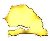 3d zlatá mapa senegaluセネガル 3 d の金マップ — Stock fotografie