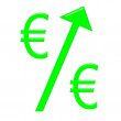 Stock Photo: Raising Euro Currency
