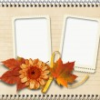 Vintage  notebook page with frames and autumn leaves — Stock Photo